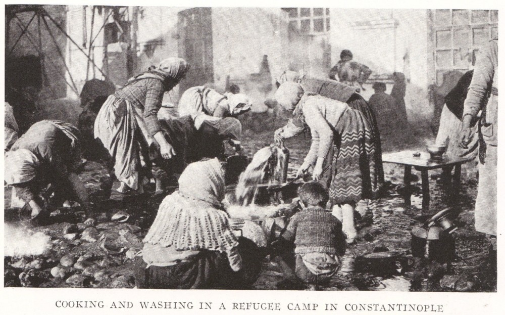 Russian refugees living in camps in Istanbul circa 1920.