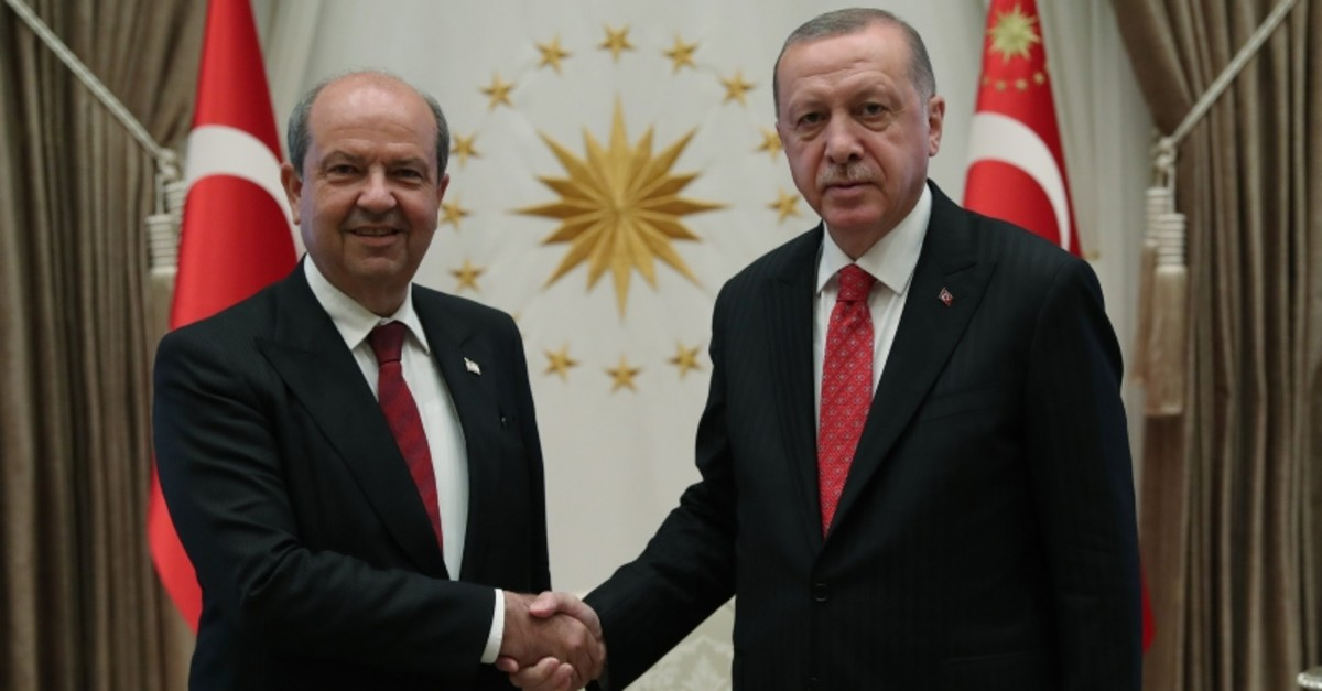 TRNC PM Tatar (L) and President Erdou011fan