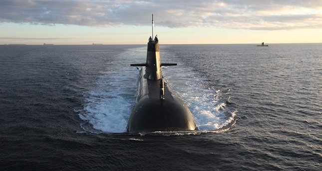 This file photo dated July 25, 2015, shows Royal Australian Navy RAN Collins Class submarines exercising off the West Australian coast.