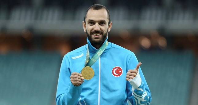 Ramil Guliyev won gold in the 100 meters sprint race.