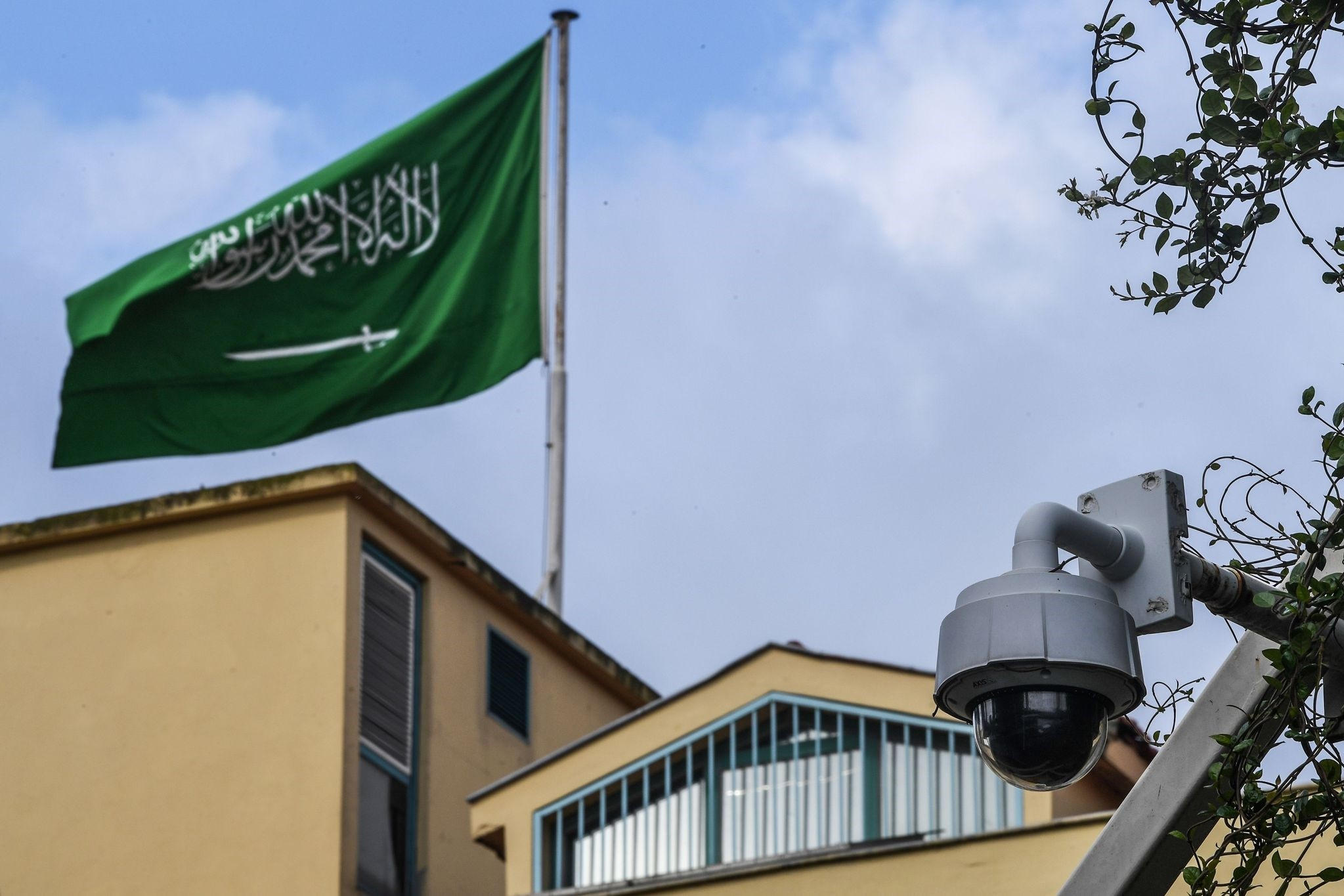 A surveillance camera outside the Saudi Consulate in Istanbul. Media outlets released camera images showing a black van leaving consulate for nearby residence of Saudi consul-general & reports say Khashoggi was forcibly taken there in the van.