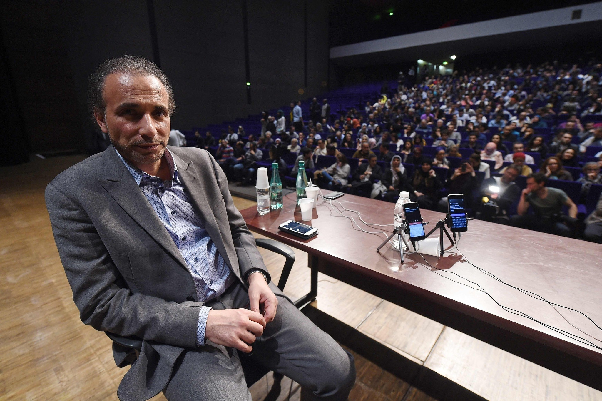 This file photo taken on March 26, 2016 shows Swiss Islamologist Tariq Ramadan posing during a conference on the theme ,Live together, in Bordeaux. (AFP Photo)
