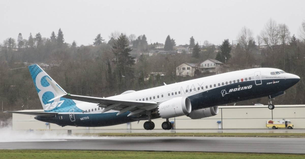 A Boeing 737 MAX 8 airliner lifts off for its first flight on Jan. 29, 2016 in Renton, Wash. (Getty Images)