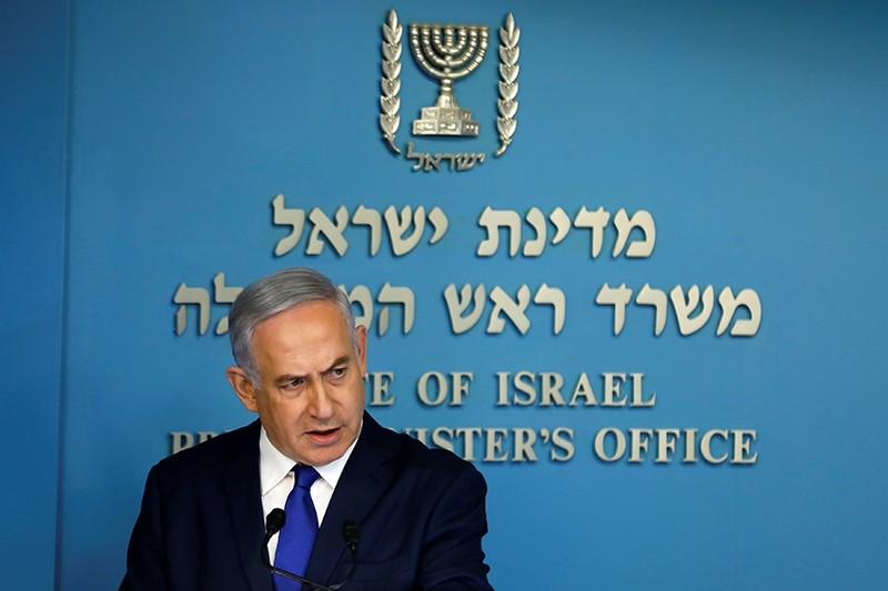Israeli Prime Minister Benjamin Netanyahu speaks during a news conference at the Prime Minister's office in Jerusalem April 2, 2018. (Reuters Photo)