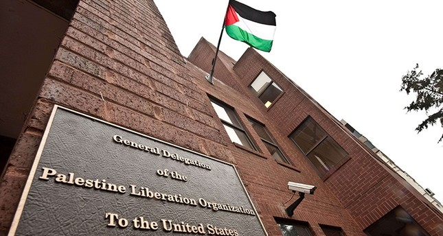 The Palestinian flag flies from the building housing the General Delegation of the Palestine Liberation Organization (PLO) in Washington on Jan. 18, 2011. (AFP Photo)