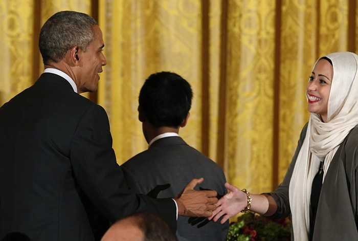 Muslim girl Samantha Elauf's firm stance over A&F headscarf case praised by President Obama
