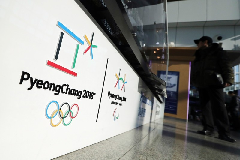 The official emblems of the 2018 Pyeongchang Olympic and Paralympic Winter Games are seen at the Seoul Train Station in Seoul, South Korea (AP Photo)