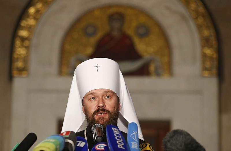 Metropolitan Hilarion, chairman of external relations department of the Moscow Patriarchate and permanent member of the Holy Synod of the Russian Orthodox Church, speaks during a news conference in Minsk, Belarus, Oct. 15, 2018. (Reuters Photo)