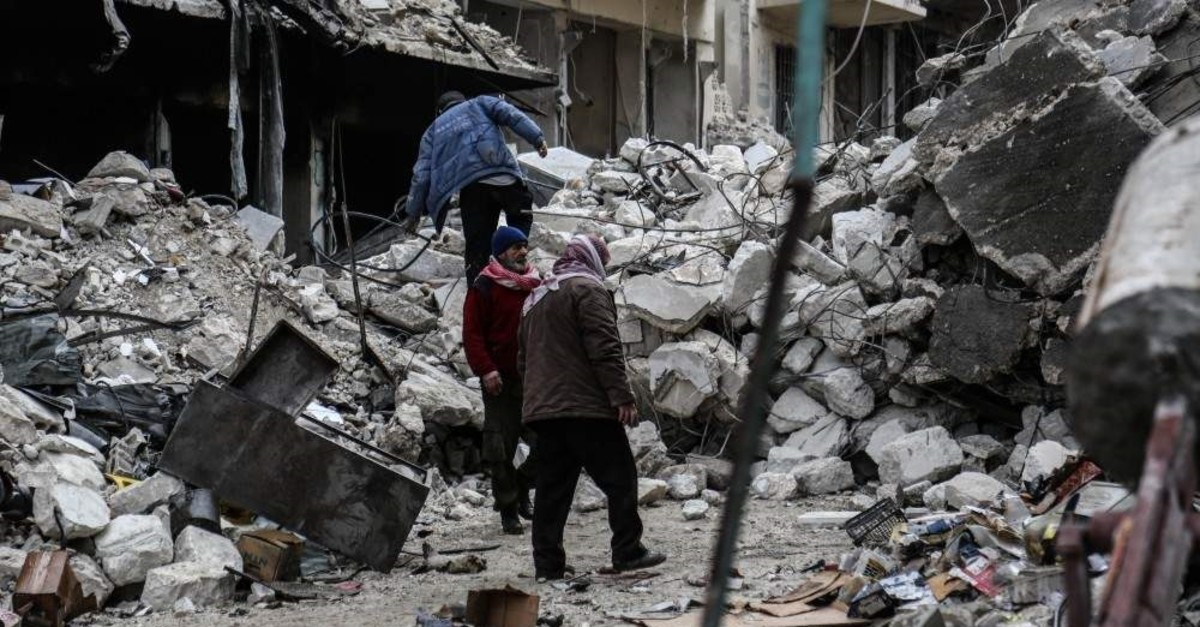 A hospital in southern Idlib's Ariha was rendered unusable when Russian jets hit the district. (AA Photo)