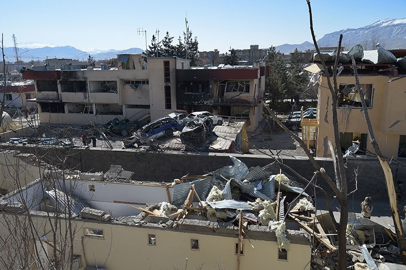A general view of the wreckage of the district police headquarters in Kabul on March 2, 2017, a day after a suicide car bomb attack. (AFP Photo)