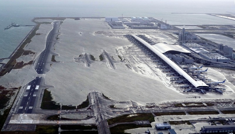 Kansai International Airport is partly inundated following a powerful typhoon in Izumisano, Osaka prefecture, western Japan, Tuesday, Sept. 4, 2018. (Kentaro Ikushima/Mainichi Newspaper via AP)