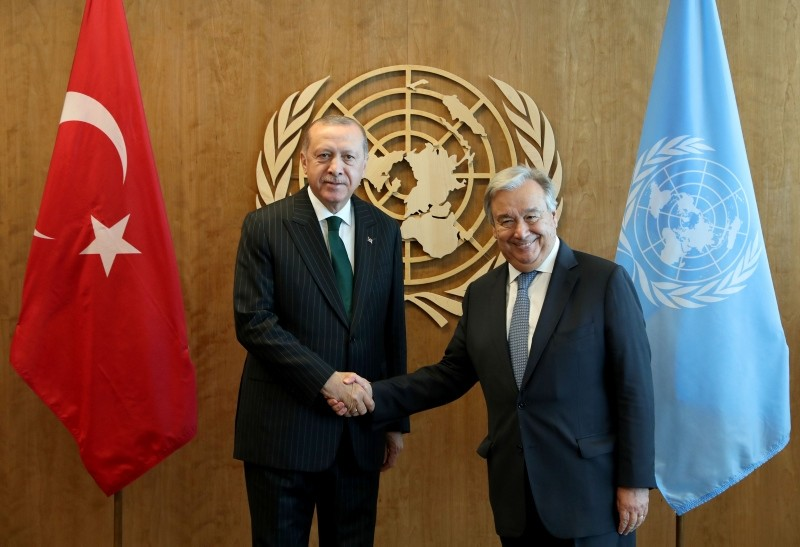 U.N. Secretary-General Antonio Guterres, right, greets Turkey's President Erdou011fan at U.N. headquarters, in New York, Monday, Sept. 24, 2018. Erdogan is in New York to attend the United Nations General Assembly meeting. (AP Photo)