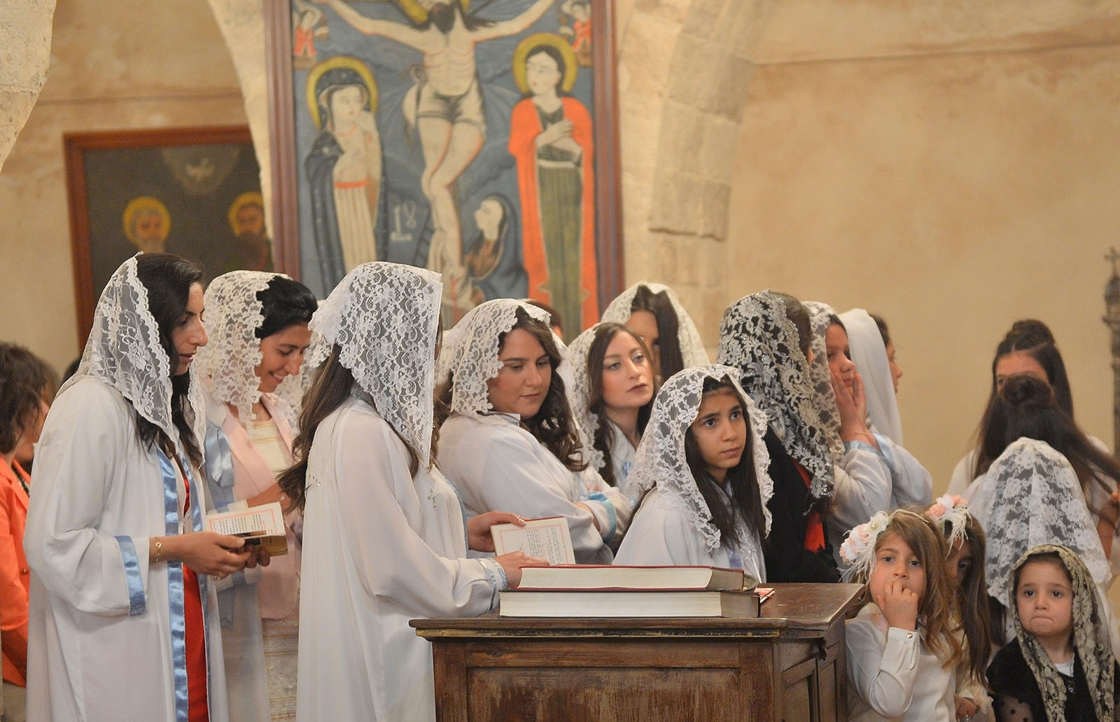 Assyrian community in southeastern Turkey's Mardin province attend Easter services at the Kırklar Church AA Photo