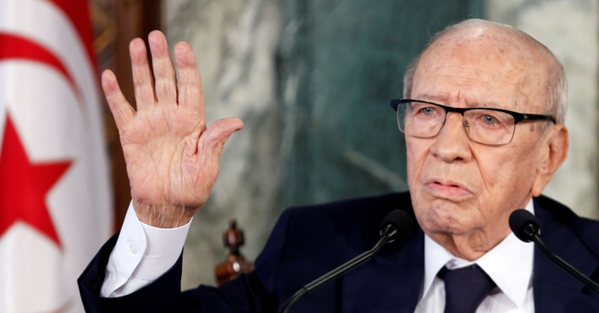 Tunisian President Beji Caid Essebsi speaks during a news conference at the Carthage Palace in Tunis, Tunisia November 8, 2018. (Reuters Photo)