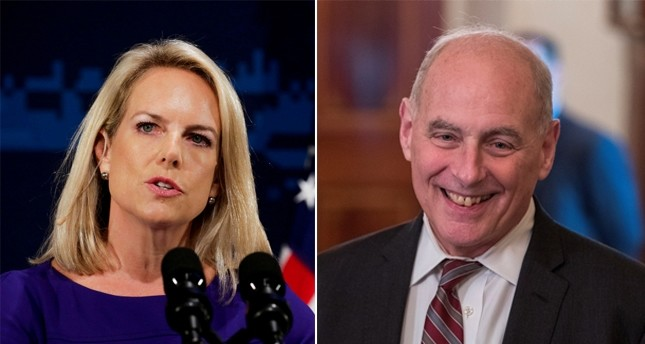 Homeland Security chief Kirstjen Nielsen and Chief of Staff John Kelly (Reuters & EPA photos)
