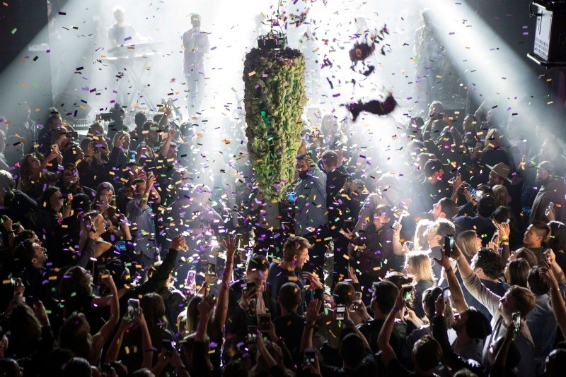 A depiction of a cannabis bud drops from the ceiling at Leafly's countdown party in Toronto on Wednesday, Oct. 17, 2018, as midnight passes and marks the first day legalization of Cannabis across Canada. (AP Photo)