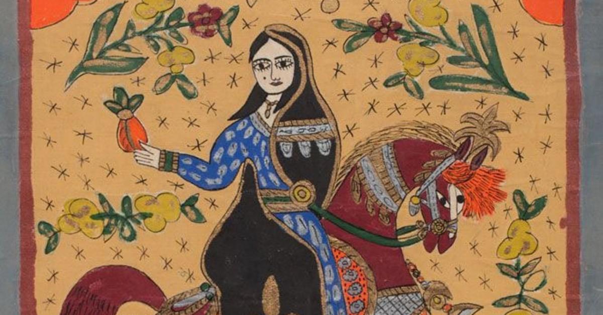 u201cAbla,u201d drawing on Canvas, 76 x 65 cm, by Abu Subhi al Tinawi (photo courtesy of the Atassi Foundation).