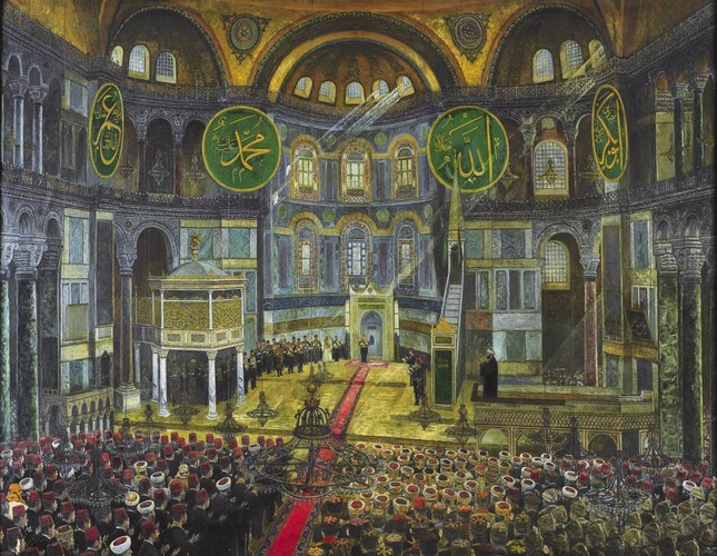 An illustration depicting an eid prayer at Hagia Sophia during the reign of the Ottomans. Back in the day, Ottoman sultans perform their eid prayers at Hagia Sophia and accept greetings at the Topkapı Palace during religious holidays.