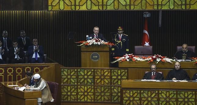 President Recep Tayyip Erdoğan speaks at the Pakistani parliament on Friday, Feb. 14, 2020 AA Photo