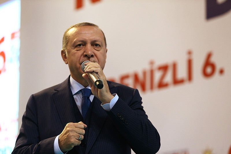 President Erdou011fan addresses a crowd at an AK Party convention in Denizli province (IHA Photo)