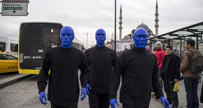 Blue Man Group performs on Istanbul's streets