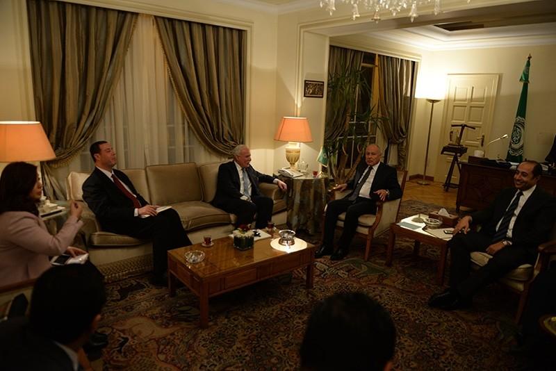 Arab League Secretary General Ahmed Aboul Gheit meets Palestinian minister of Foreign Affairs Riyad al-Maliki at the Arab League headquarters in Cairo, Egypt, 09 December 2017. (EPA Photo)