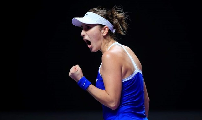 Belinda Bencic celebrates during her match against Kiki Bertens, Shenzhen, Oct. 31, 2019. (REUTERS Photo)
