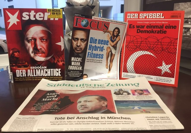 President Recep Tayyip Erdoğan appeared in various German magazines' cover pages. Süddeutsche Zeitung continued to cover Erdoğan on their first page days after the failed coup attempt, even with the shooting spree in Munich.