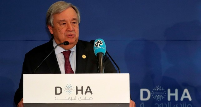 United Nations' Secretary General Antonio Guterres delivers a speech during the Doha Forum in the Qatari capital on December 16, 2018. (AFP Photo)