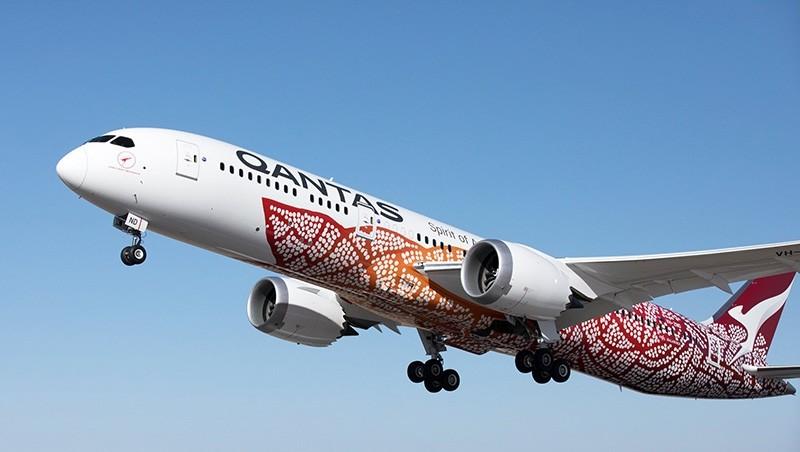 A handout photo made available by Australian carrier Qantas on 24 March 2018 shows Qantas 787-9 Dreamliner 'Emily Kame Kngwarreye'. (EPA Photo)