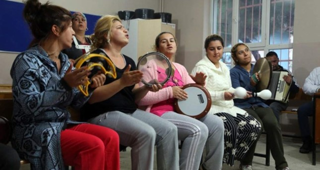 Roma women attend a music class, part of a training program for the community, in Tekirda? in this undated photo. AA Photo