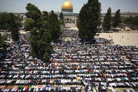260,000 Palestinians converge at Jerusalem's Al-Aqsa Mosque to perform Ramadan's last Friday prayers