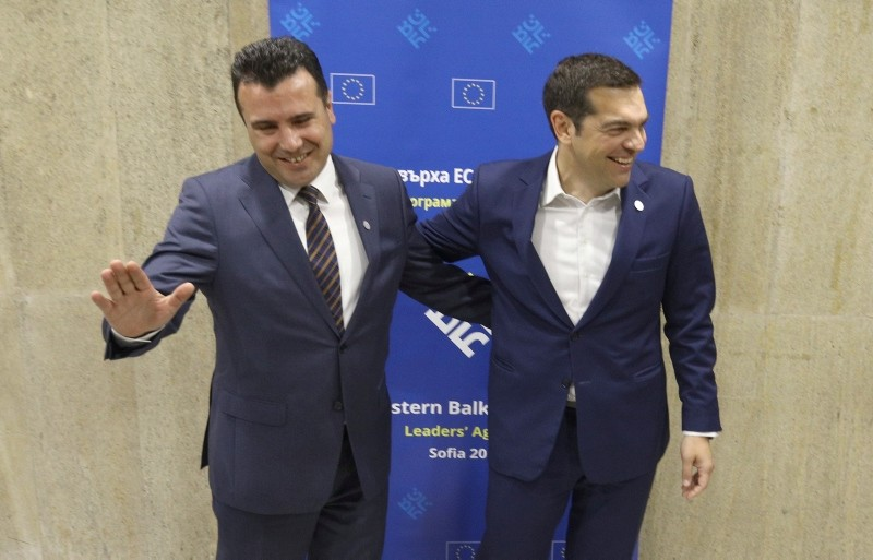 Greek Prime Minister Alexis Tsipras meets with Macedonian Prime Minister Zoran Zaev at the EU-Western Balkans Summit in Sofia, Bulgaria, May 17, 2018. (REUTERS Photo)