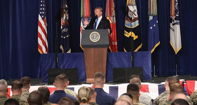 U.S. President Donald Trump delivers remarks on Americas military involvement in Afghanistan at the Fort Myer military base in Arlington, Virginia, Aug. 21, 2017. (AFP Photo)