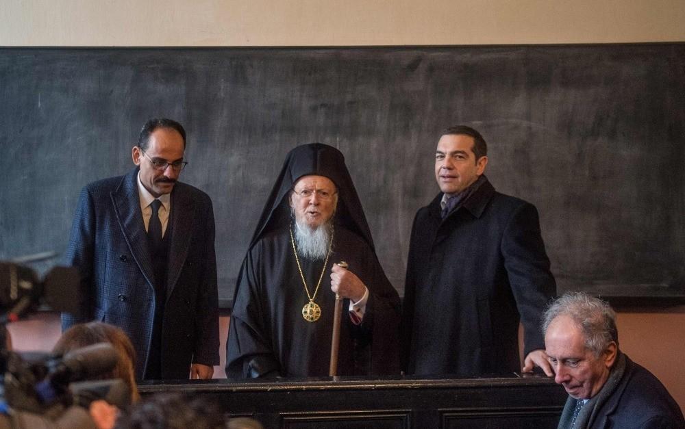 Presidential Spokesperson u0130brahim Kalu0131n (L), Greek Prime Minister Alexis Tsipras (R), Greek Orthodox Patriarch Bartholomew I (C) visit the Halki Seminary on Istanbul's Heybeliada Island, Feb. 6, 2019.