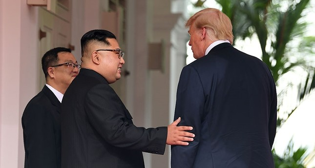 In this file photo taken June 11, 2018, North Korea's leader Kim Jong Un gestures as he meets with U.S. President Donald Trump at the start of their historic summit, at the Capella Hotel on Sentosa island in Singapore. (AFP Photo)