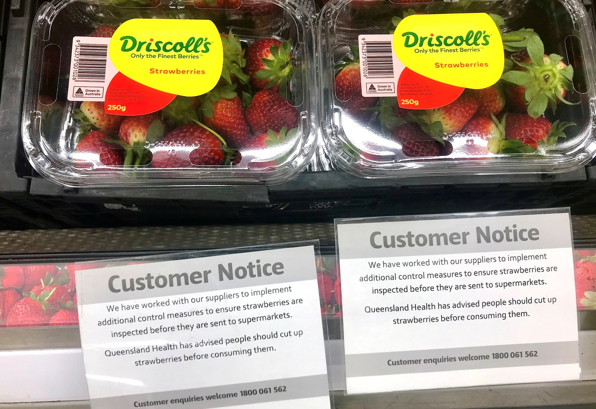Customer notice signs are displayed underneath packets of Australia strawberries on sale at a supermarket in the central New South Wales town of Mudgee in Australia, September 23, 2018. (REUTERS Photo)
