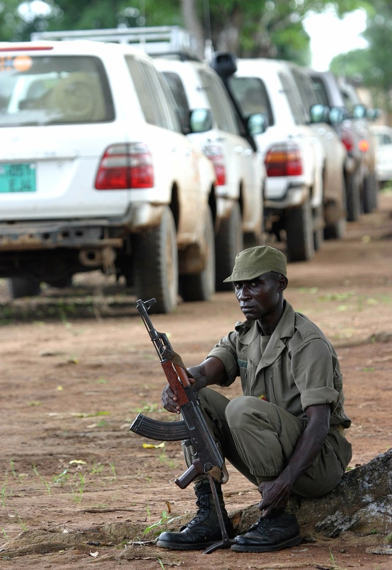 A Congolese soldier sits by a U.N. convoy. (Reuters File Photo)