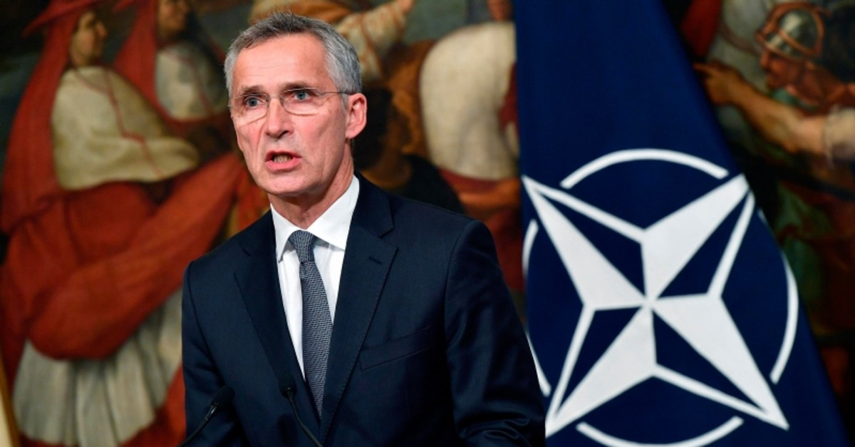Nato Secretary General Jens Stoltenberg holds a press conference following his meeting with Italian Prime Minister Giuseppe Conte at Chigi Palace in Rome, Italy, Wednesday, Oct. 9, 2019. (AP Photo)
