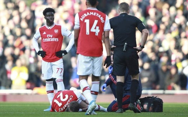 Chambers lies injured on the pitch during the English Premier League match between Arsenal and Chelsea, at the Emirates Stadium in London, Dec. 29, 2019. AP Photo