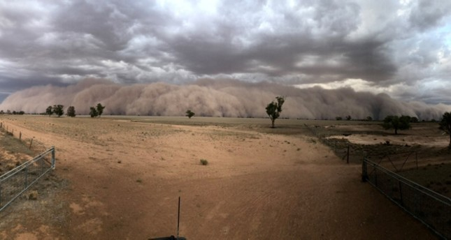 A dust storm approaches a farm, northwest of Dubbo, New South Wales, Australia in January 19, 2020 picture obtained from social media. Jason Herbig via Reuters