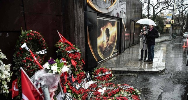 Flowers placed in front of Reina night club following the 2017 attack. It was the last large-scale terror attack by Daesh in Turkey.