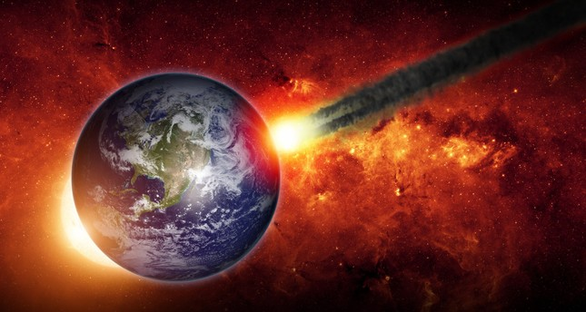 Abstract scientific background - asteroid impact planet earth, red galaxy. (FILE Photo)