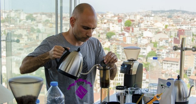 The elegant hotel rooftop overlooking the Bosporus was transformed into a laboratory as the competitors weighed their beans on miniature scales, ground them to the right coarseness and finally extracted a perfect blend of tang and acidity into a cup.