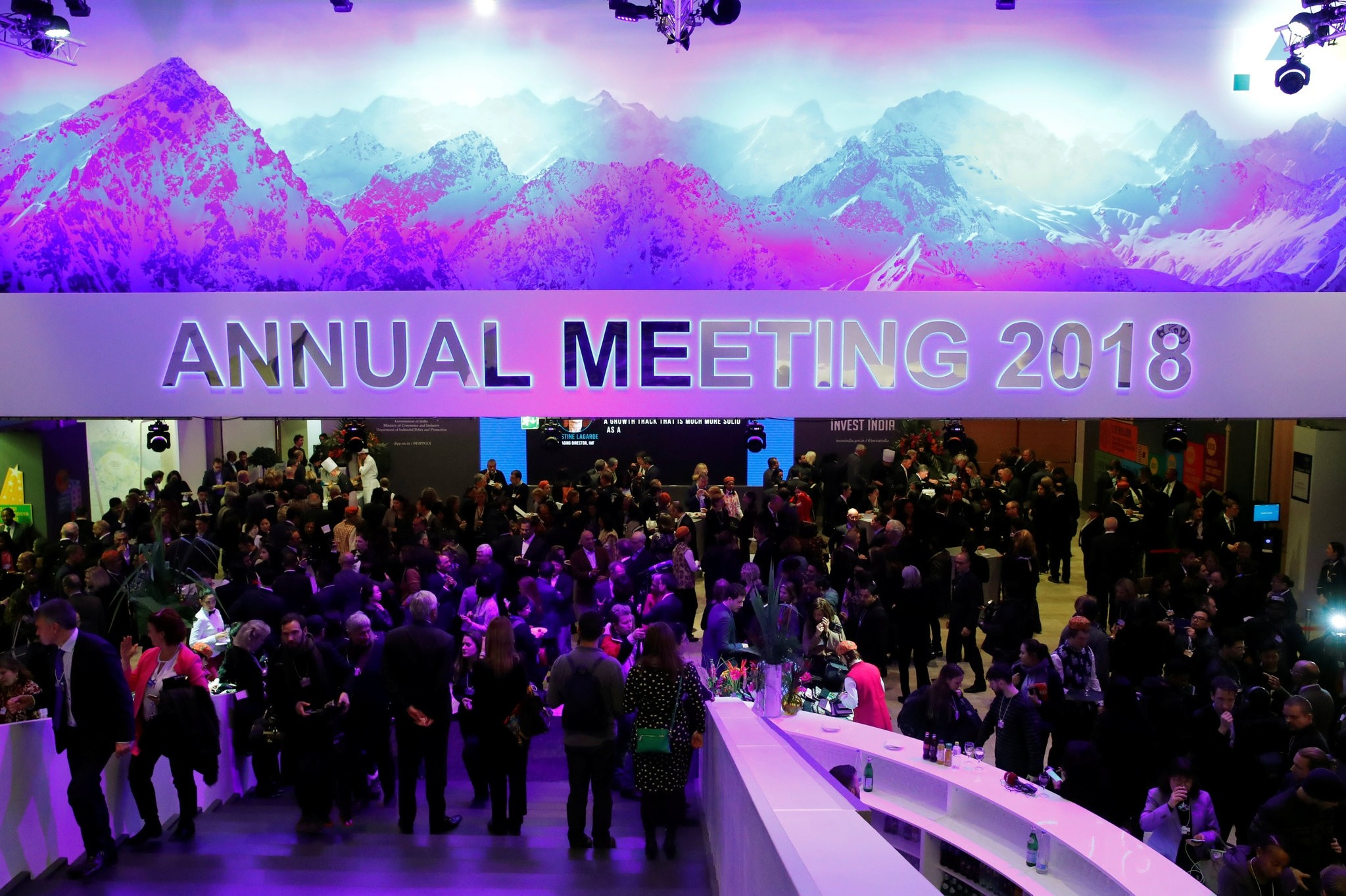 Attendees take part at a reception event after the Crystal Award ceremony during the World Economic Forumu2019s annual meeting, Davos, Switzerland, Jan. 22.