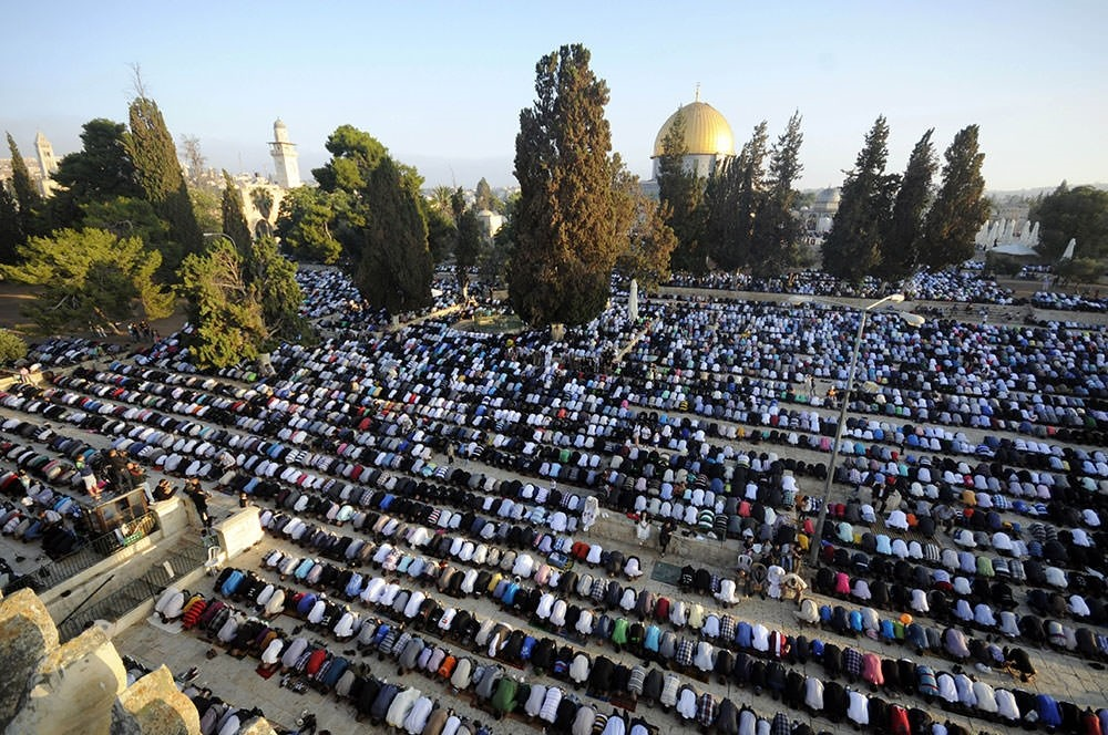 Muslims pray at the Al Aqsa Mosque Compound in Jerusalem
