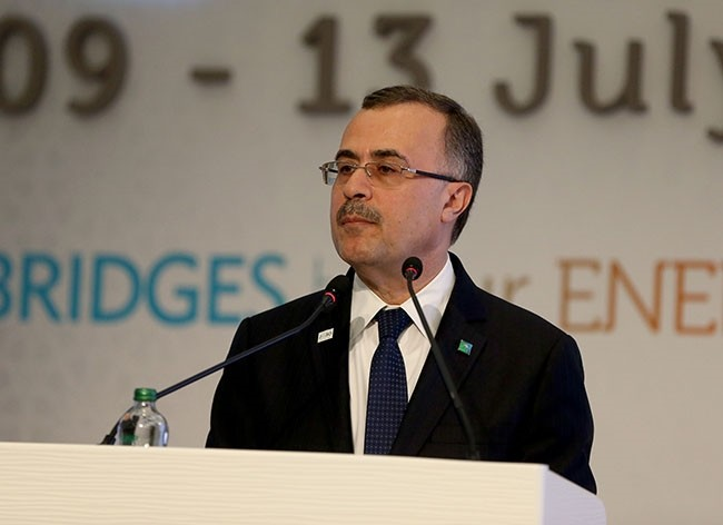 Saudi Aramco CEO Amin Nasser speaking at the 22nd World Petroleum Congress in Istanbul, Turkey, July 10, 2017. (AA Photo)