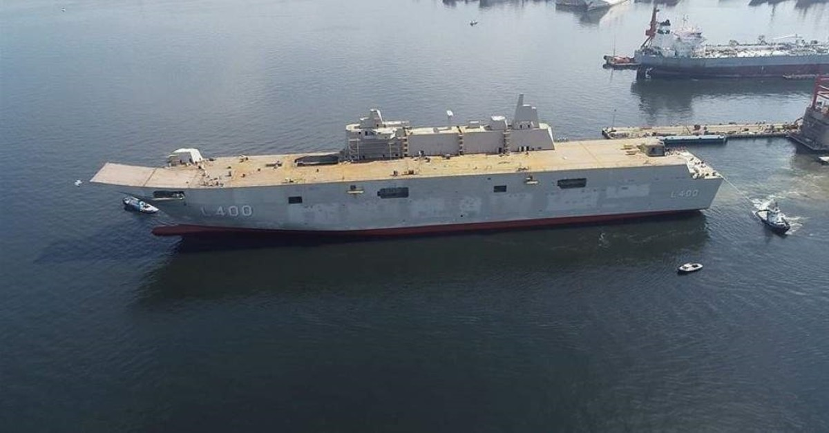 Turkey's largest-ever warship TCG Anadolu will be delivered to the Turkish navy this year. (AA Photo)