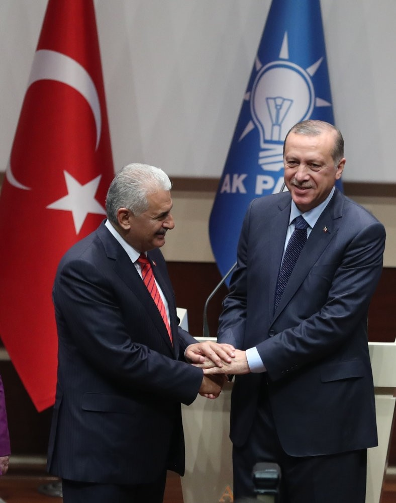 President Erdou011fan and PM Yu0131ldu0131ru0131m, shake hands at the meeting held to welcome the president back to the AK Party in early May. PM Yu0131ldu0131ru0131m is expected to be to become second-in-command at the party after President Erdou011fan's return.