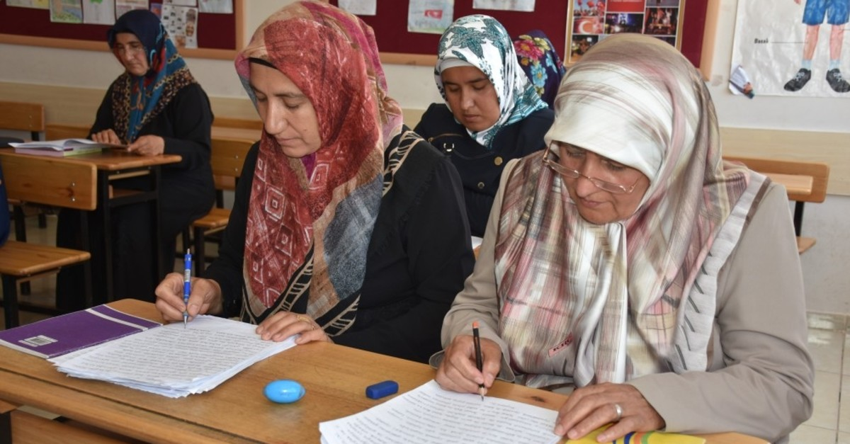 Women attend a literacy class in the eastern city of Adu0131yaman in this undated photo. The literacy campaign particularly targets women who were forced to drop out of school by their families.